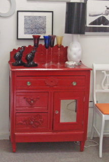 Red Lacquered Side Chest