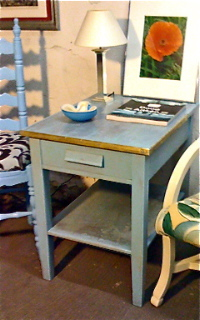 Rustic Blue Side Table