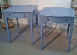 Hand-Painted Blue Tables
