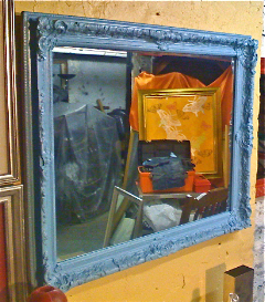 antique french blue mirror