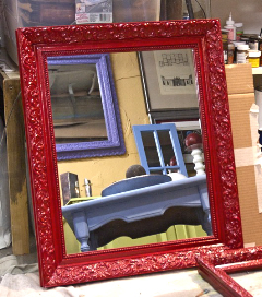 glistening red lacquered mirror
